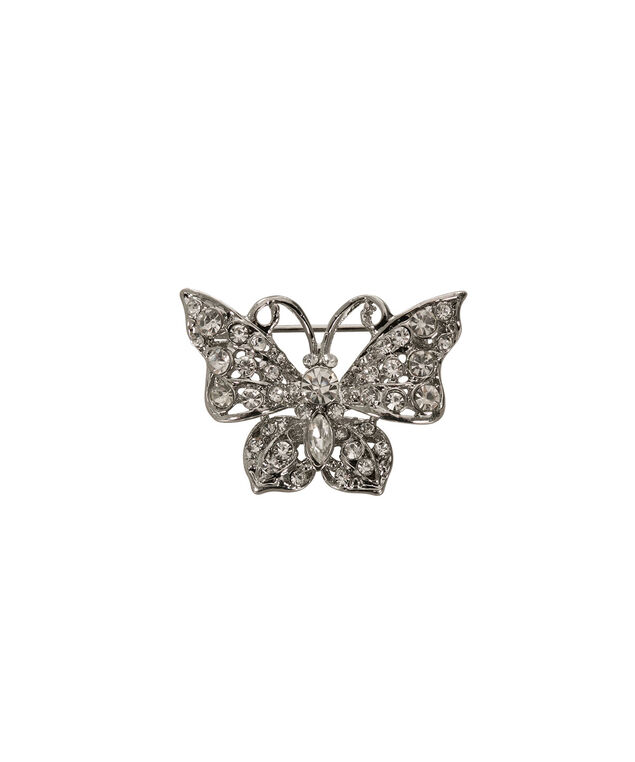 Crystal Butterfly Brooch, Rhodium, hi-res