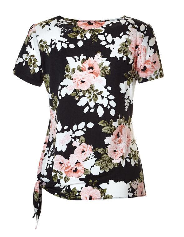 Pink Floral Side Tie Top, Black/Coral/Dusty Pink/Olive, hi-res