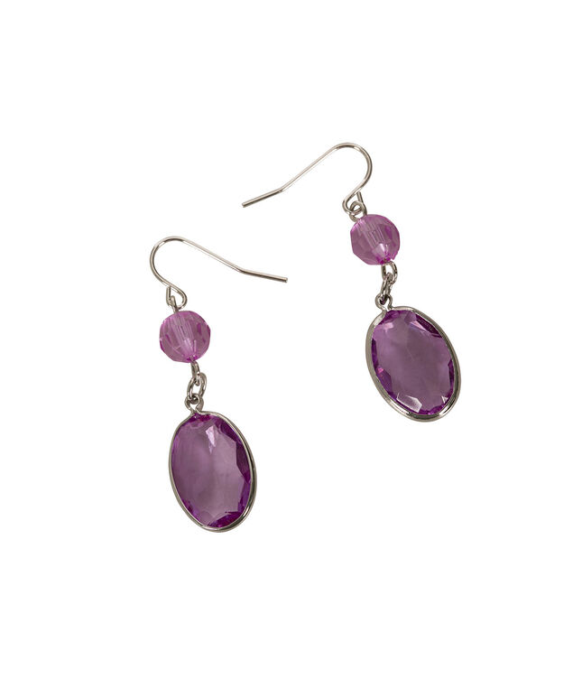 Faceted Stone Earring, Iced Violet/Rhodium, hi-res