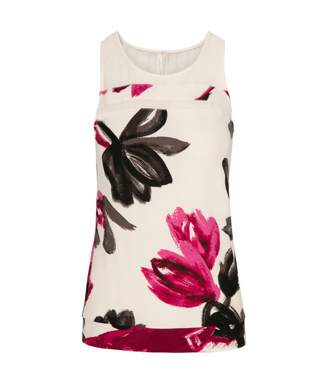 Illusion Neck Tank, Milkshake Print, hi-res