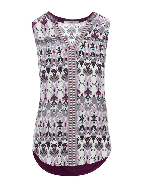 Embroidered Henley Tank, Purple/White Print, hi-res
