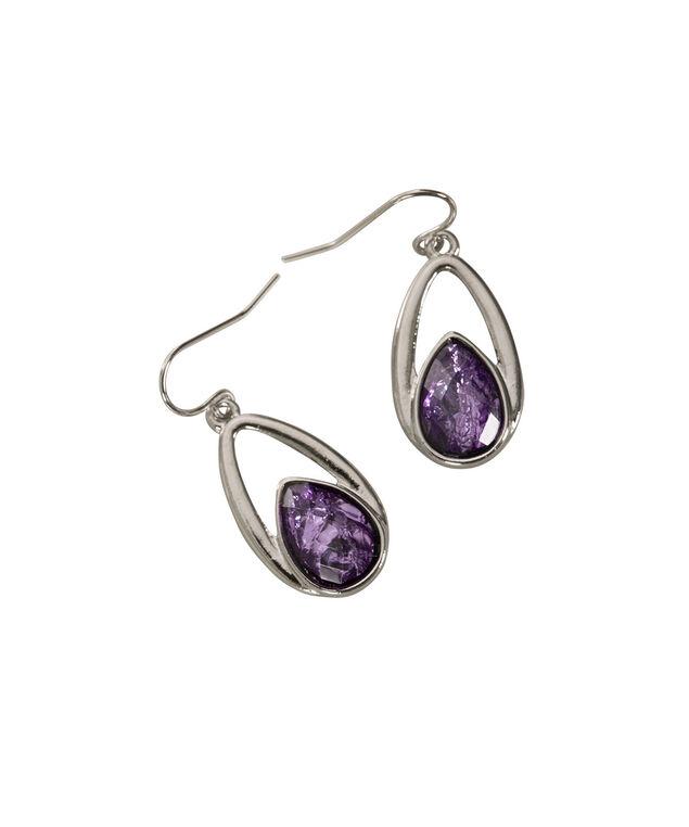 Tear Shaped Cateye Earring, Purple/Rhodium, hi-res