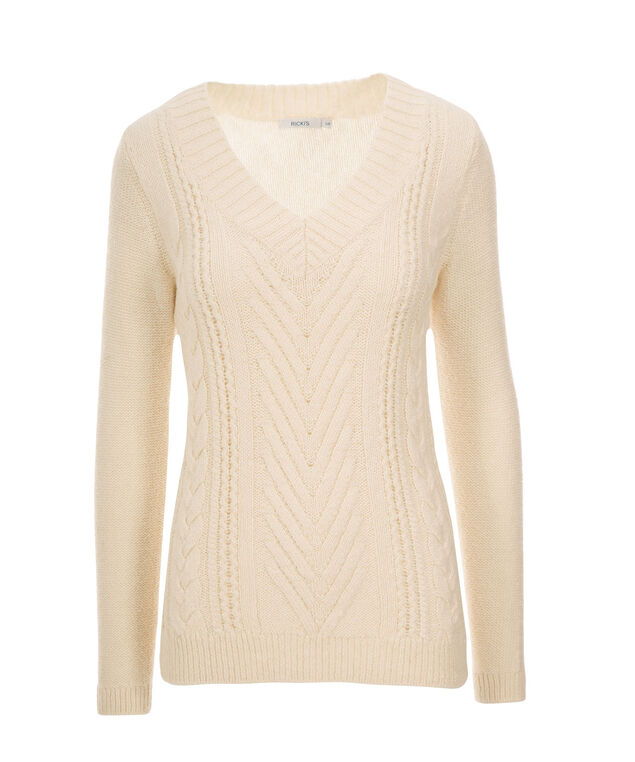 Marbled Cable Pullover, Ivory, hi-res