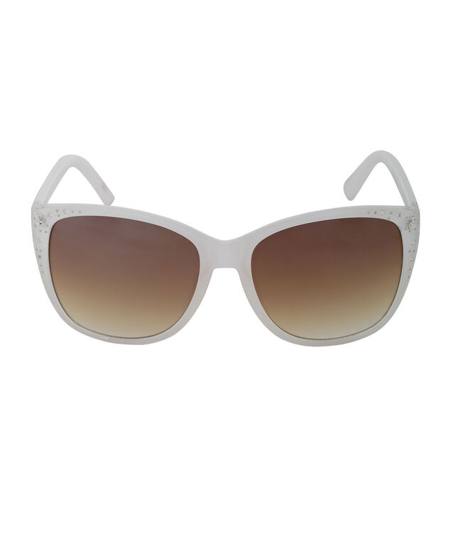 Cateye Bling Sunglasses, White, hi-res