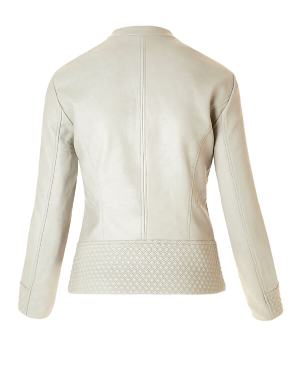 Diamond Stitch Pleather Jacket, Bone, hi-res