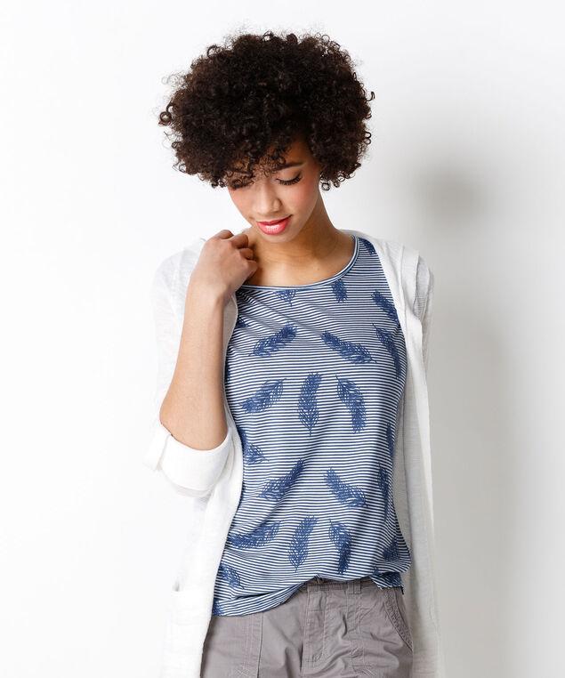 Lace Feather Stripe Top, Blue Print, hi-res