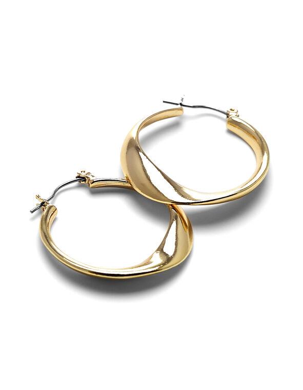 Gold Sculptural Hoop Earring, Gold, hi-res
