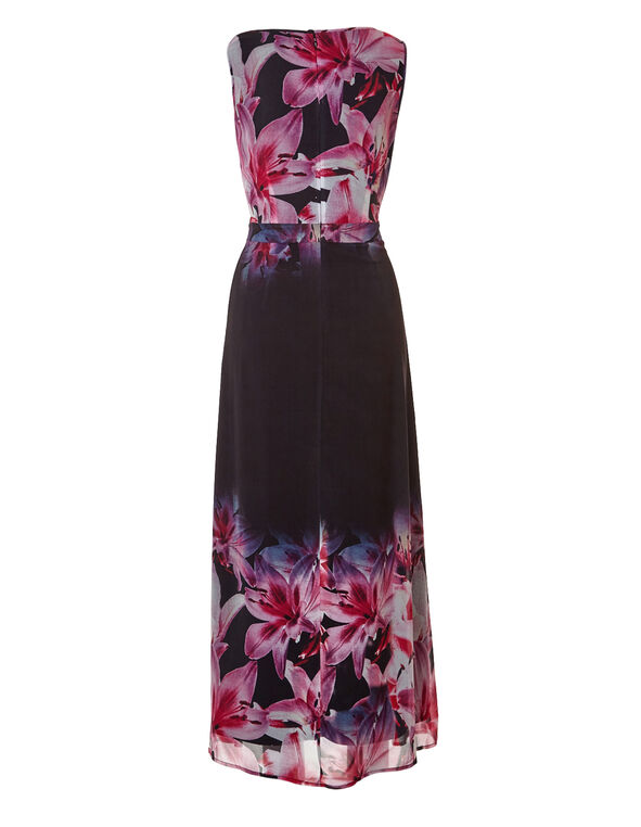 Black Floral Maxi Dress, Black/Pink/Peony/Blue, hi-res