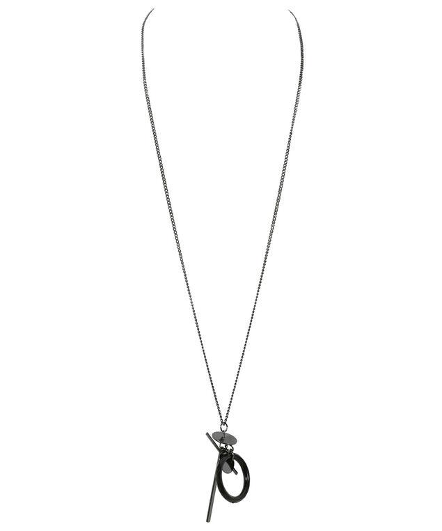 Geometric Linear Necklace, Black, hi-res