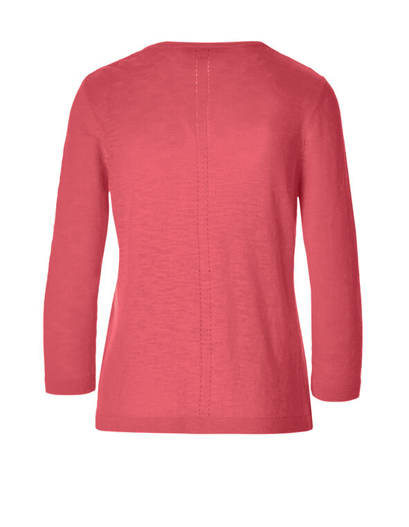 Pink Coral Pointelle Knit Cardigan, Pink Coral, hi-res
