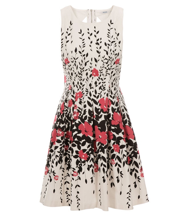 Cut Out Border Print Dress, White/Pink/Black Print, hi-res