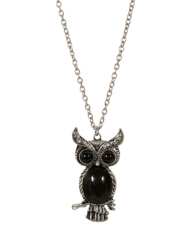 Stone Owl Pendant Necklace, Black/Burnished Silver, hi-res