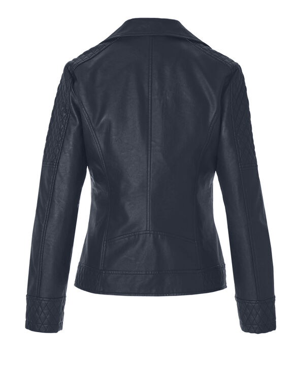 Navy Pleather Jacket, Navy, hi-res