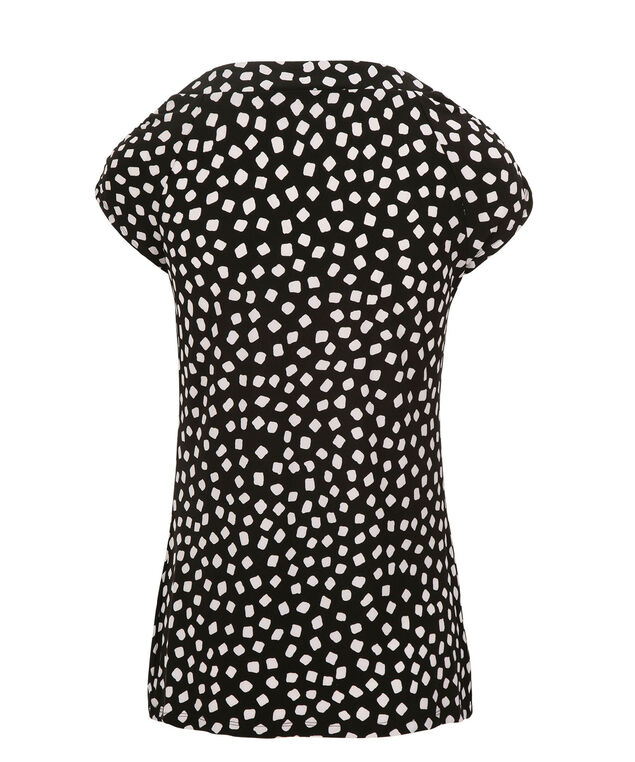 Pleat Neck Dot Print Top, Black/White, hi-res