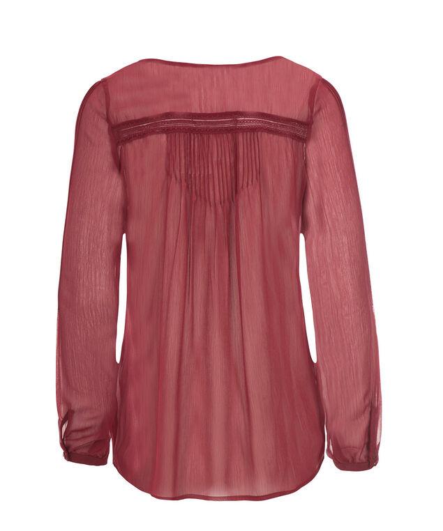 Long Sleeve Pintuck Blouse, Deep Red, hi-res