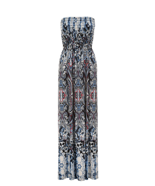 Smocked Bandeau Maxi Dress, Blue Multiprint, hi-res