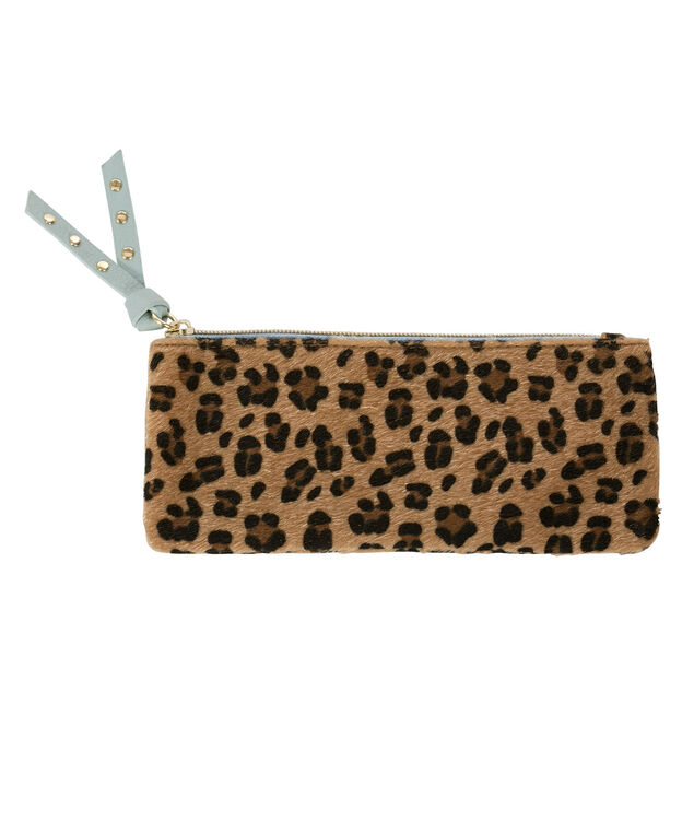 Leopard Print Travel Pouch, Black/Brown, hi-res