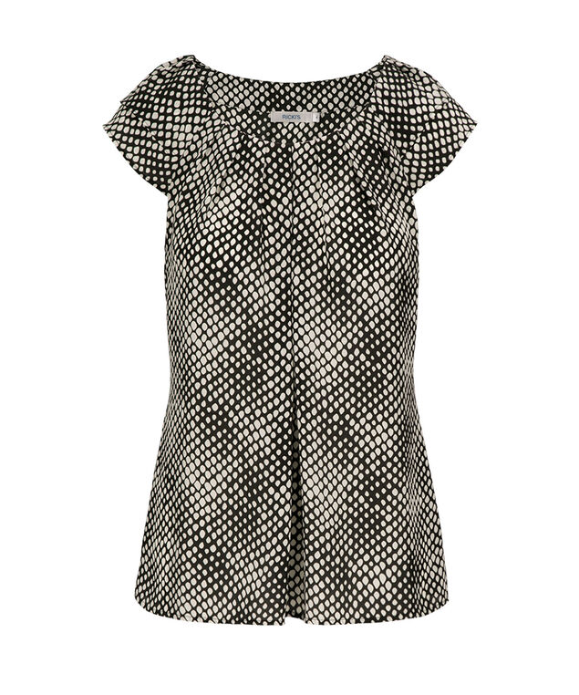 Flutter Sleeve Pintuck Blouse, Black/White Pattern, hi-res