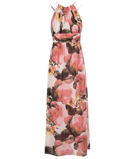 Sangria Floral Print Maxi Dress, Pink/White Print, hi-res