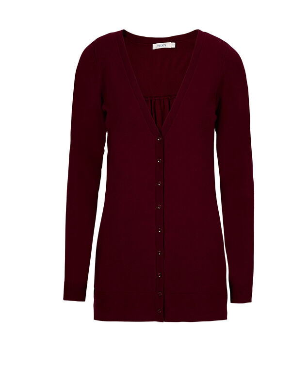 Button Front Cardigan , Burgundy, hi-res
