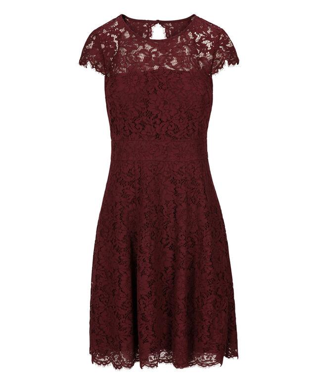 Illusion Lace Dress, Burgundy, hi-res
