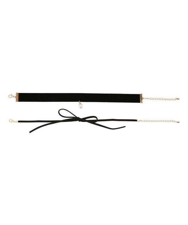 double pack of suede lariat chokers, BLACK, hi-res