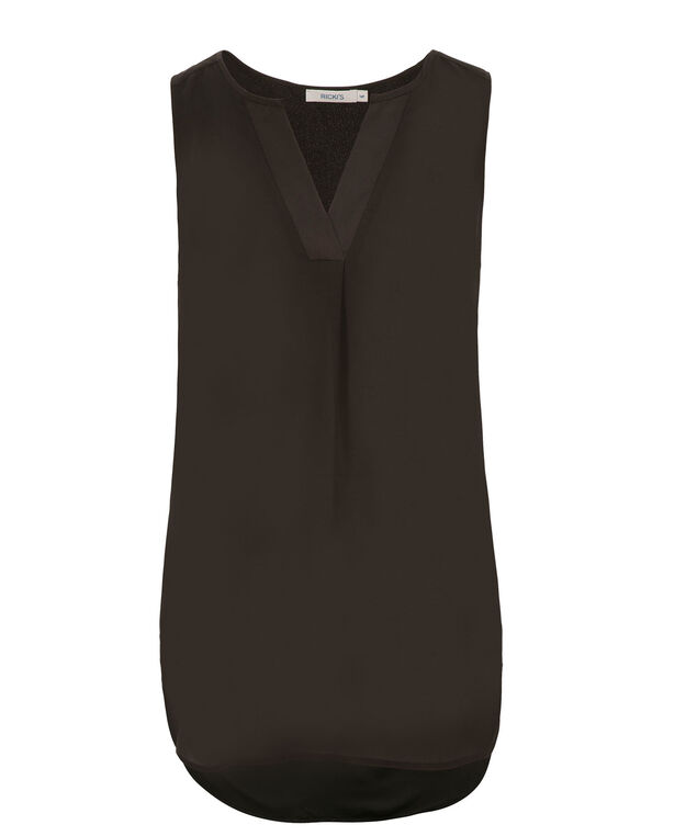 Sleeveless Henley  Blouse, Black, hi-res