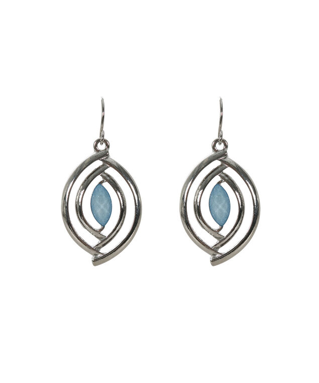 Misty Blue Earring, Misty Blue/Rhodium, hi-res