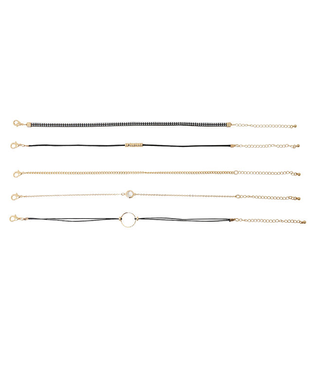 5pc black and gold choker set, BLACK/GOLD, hi-res