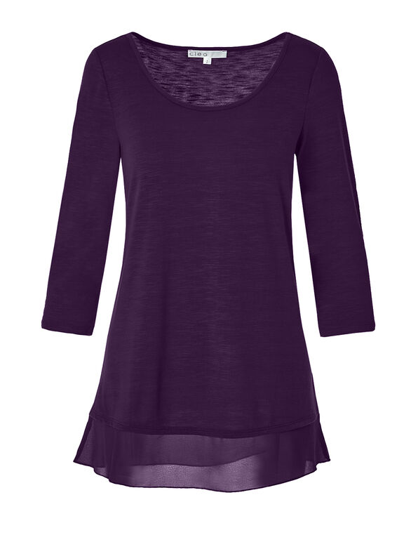 Deep Plum Chiffon Hem Top, Deep Plum, hi-res