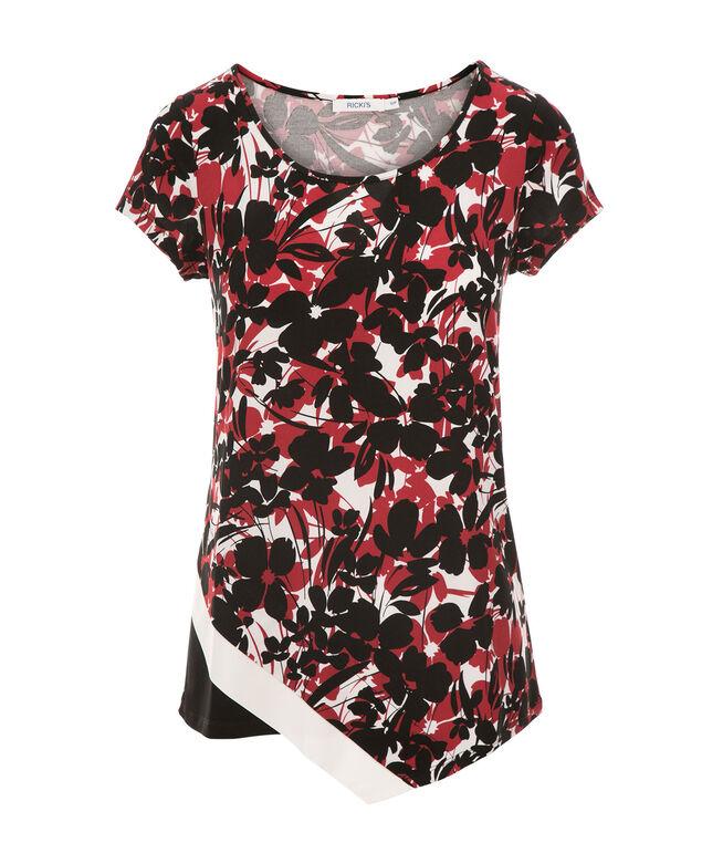 Crossover Hem Top, Crimson/Black/White, hi-res