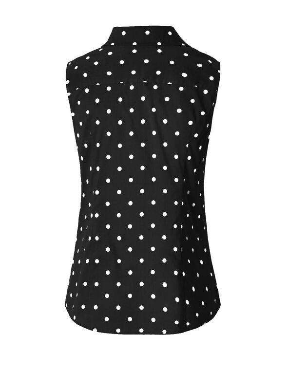 Polka Dot Printed Blouse, Navy/White, hi-res