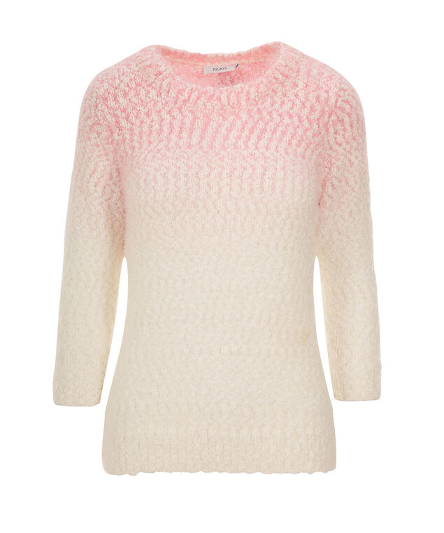 Ombre Feather Pullover, White/Pink Quartz, hi-res