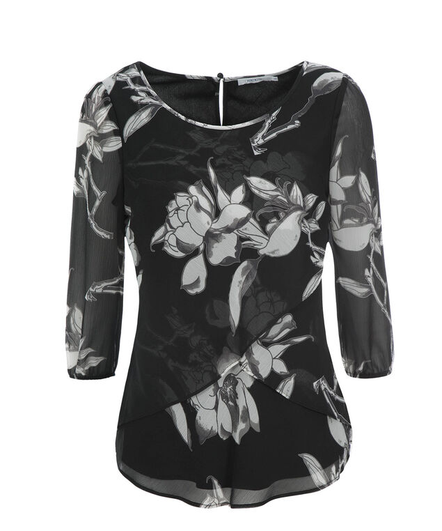 3/4 Sleeve Petal Hem Blouse, Black/White Print, hi-res