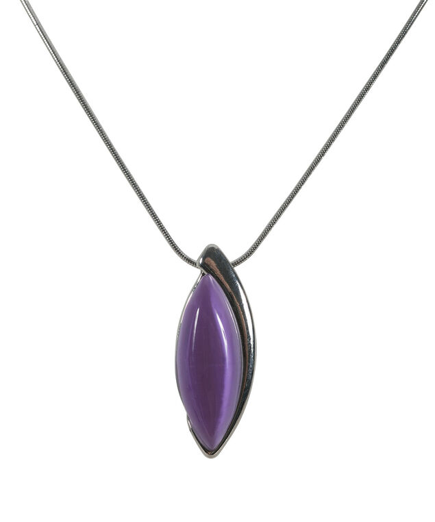 Oval Cateye Necklace, Mauve/Hematite, hi-res