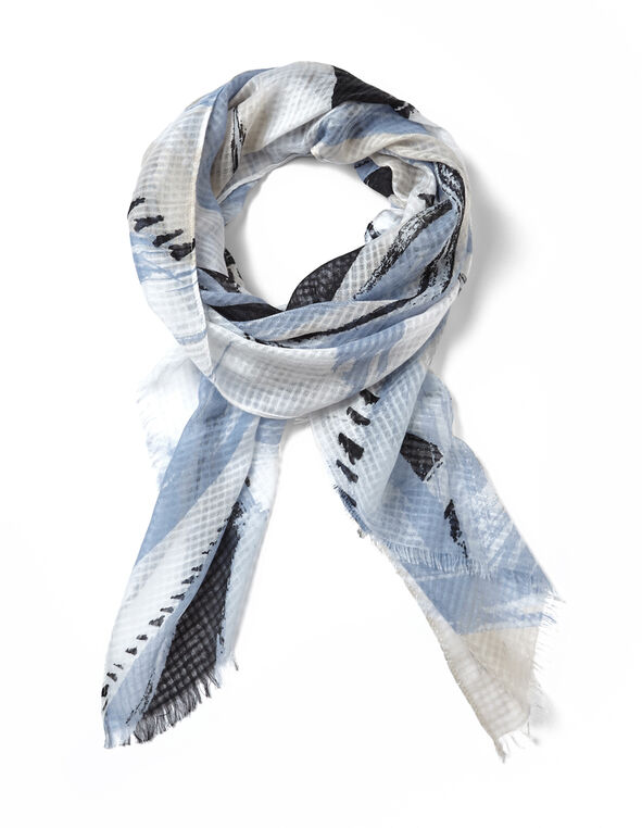 Blue Abstract Print Scarf, Ivory/Washed Blue, hi-res