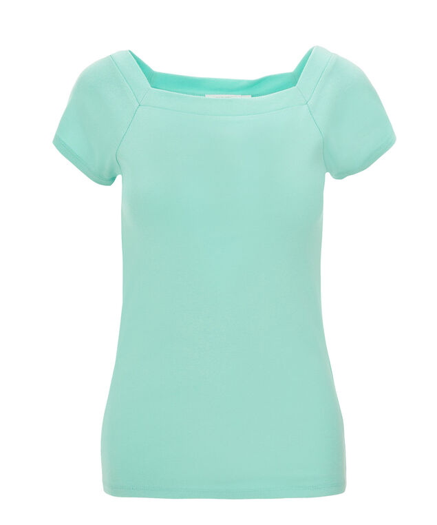 Square Neck Tee, Light Turquoise, hi-res