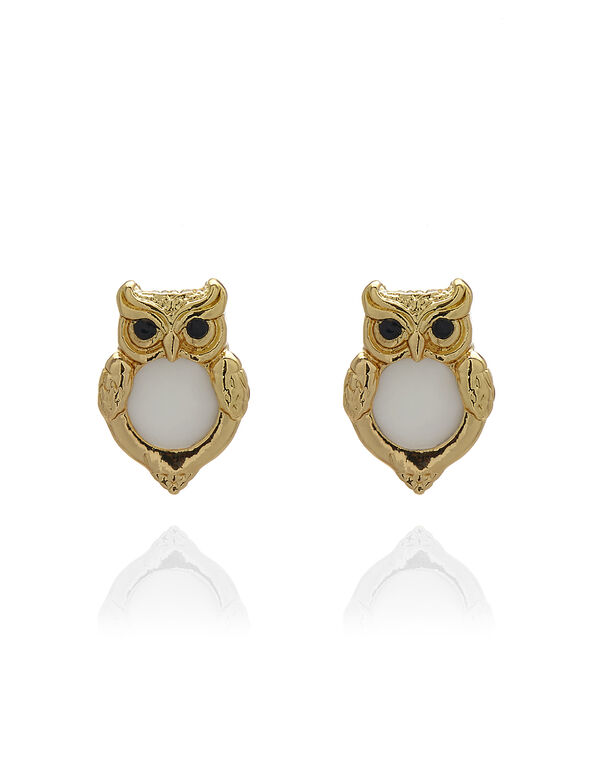 Gold Owl Stud Earring, Gold/Ivory, hi-res