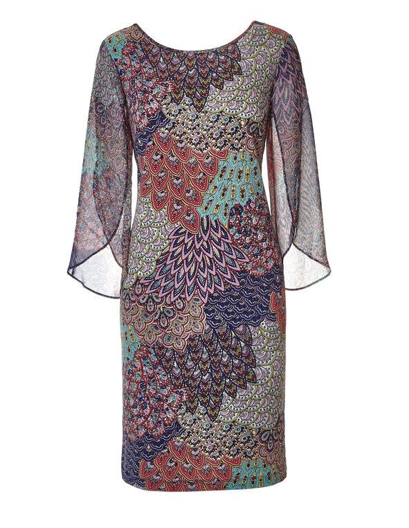 Feather Print Sheath Dress, Navy/Aqua/Mint/Coral, hi-res
