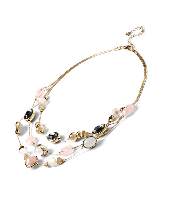 Pink Layered Necklace, Gold/Soft Pink/Ivory, hi-res
