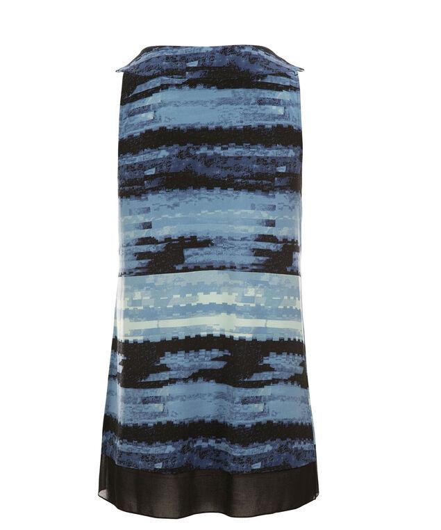 Pleat Neck Chiffon Trim Top, Sapphire Print, hi-res