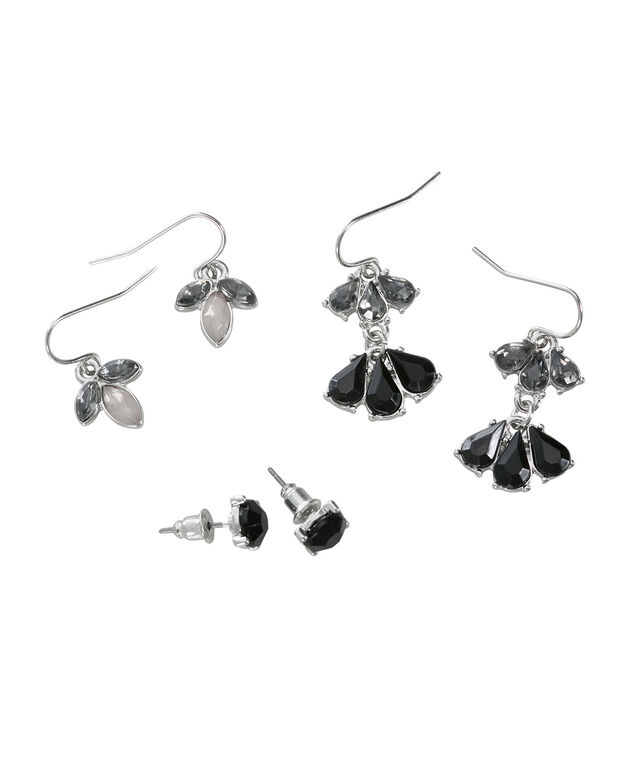 Faceted Stone Earring Trio, Jet/Black Diamond/Grey, hi-res
