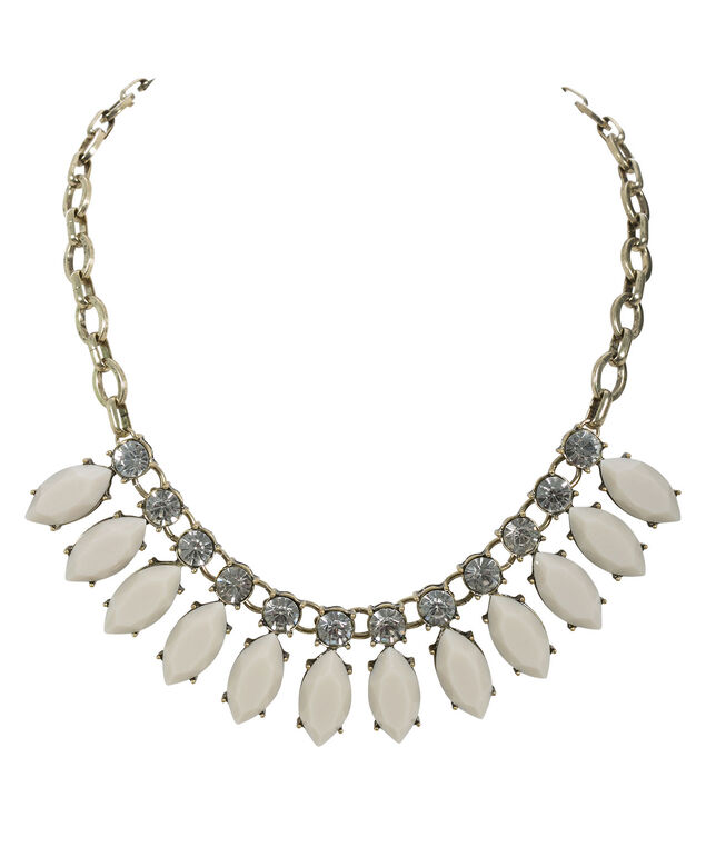Crystal & Stone Statement Necklace, Taupe/Burnished Gold, hi-res