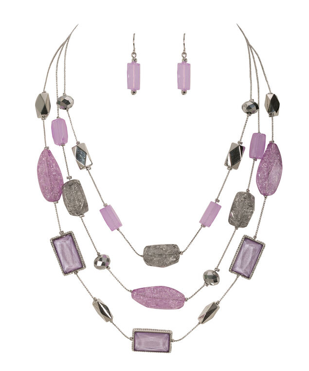 Stationed Bead Necklace Set, Iced Violet/Rhodium, hi-res