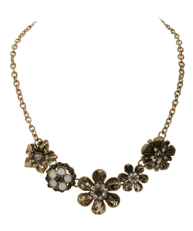 Floral & Crystal Collar Necklace, Antique Gold, hi-res