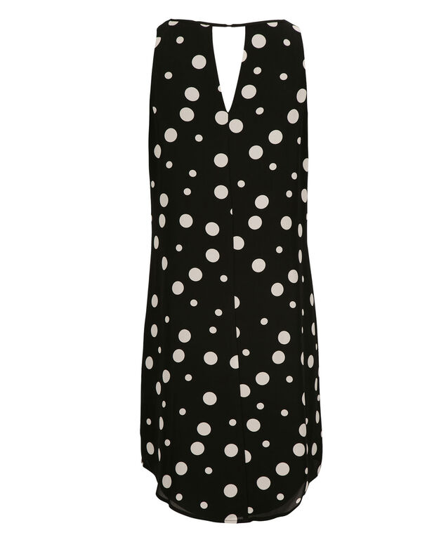 Keyhole Trapeze Dress, Black/Milkshake Dot, hi-res