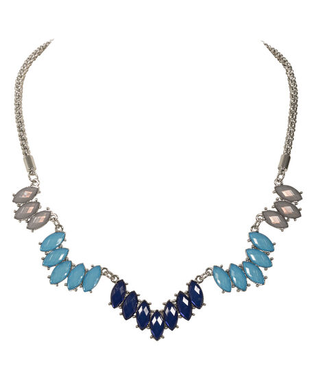 Chevron Stone Necklace, Sapphire/Turquoise/Rhodium, hi-res
