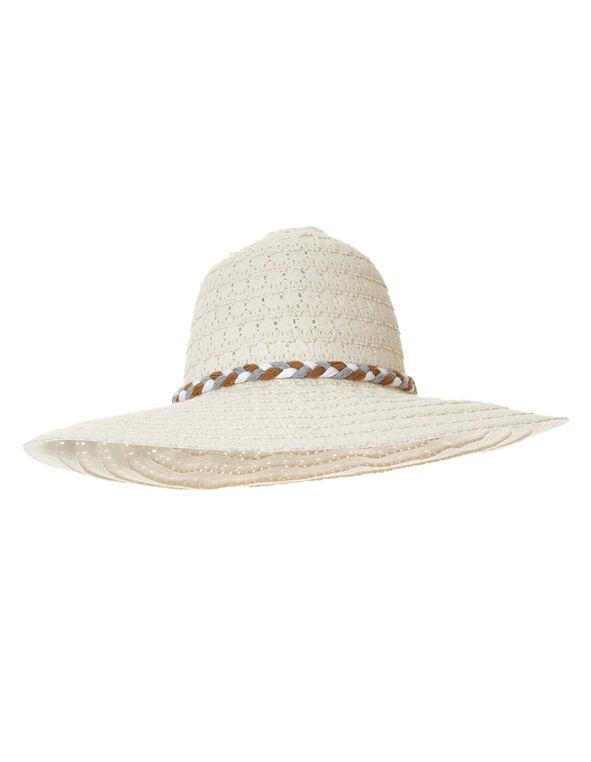 Ivory Lace Floppy Hat, Ivory, hi-res
