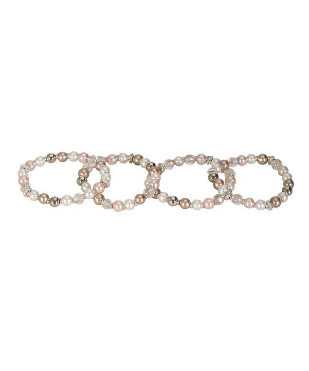 Bead & Stone Bracelet Set, Misty Pink/Rhodium, hi-res