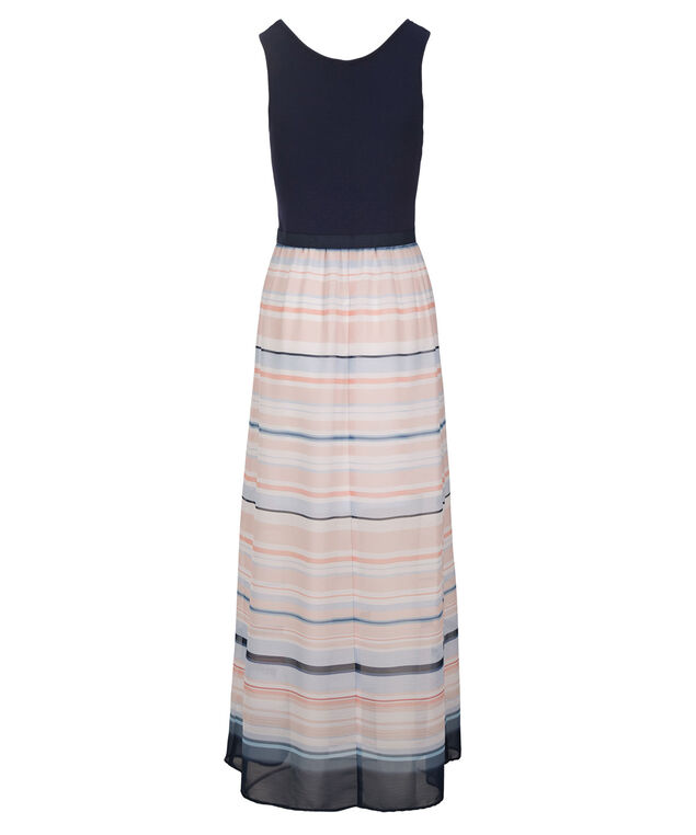 Knit Top Striped Skirt Dress, Blue/Coral, hi-res